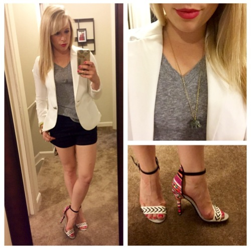 Blazer: Gabes, Tee & Shorts: F21 (both old), Heels: Chinese Laundry via DSW, Necklace: J.Crew Factory, Lips: Tarte Lipsurgence in 'Lively' (aka my favorite summer lip)