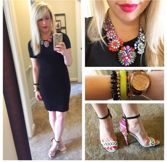 Dress: H&M (last year), Necklace: Target, Heels: Chinese Laundry via DSW, Lips: Tarte Lipsurgence in 'Lively'