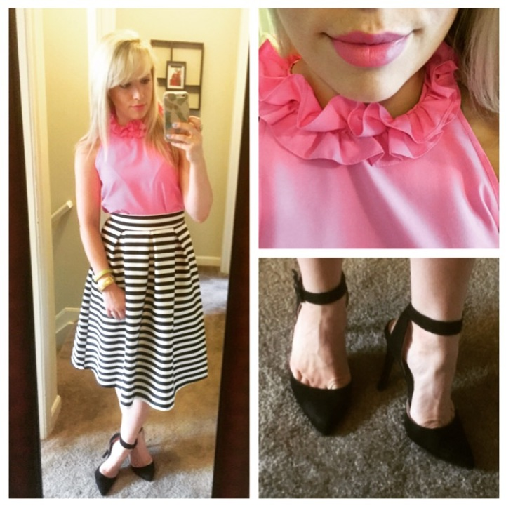 Top: F21 (old), Skirt: WIndsor Store, Heels: UrbanOg (old), Lip: NARS Audacious in Claudia