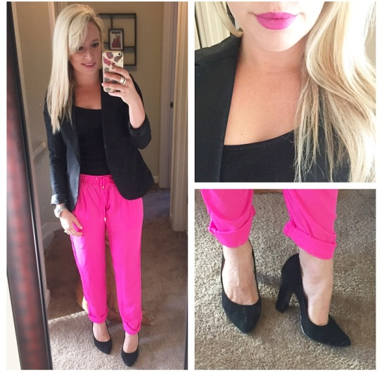 Tank: Gap Factory, Blazer: Gabes, Pants: 6pm.com, Heels: BCBG via DSW, Lips: NARS Audacious in 'Claudia'