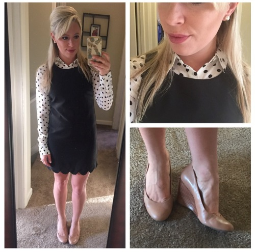 Polka-dot button-up: F21, Dress: TJ Maxx, Wedge Heels: Franco Sarto found at DSW, Lips: NYX Matte Lipstick in 'Whipped Caviar'