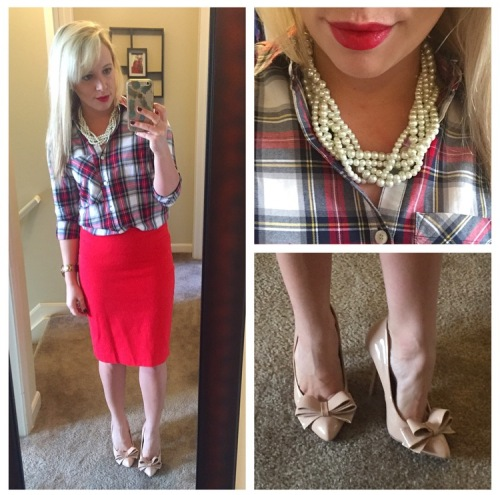 Shirt & Skirt: F21, Pumps: Betsey Johnson via Marshall's, Necklace: Francesca's, Lip: Urban Decay 'F-bomb'