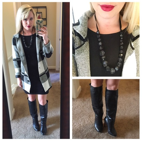 Sweater: Gabes (gift from my Momma!), Dress: Old Navy (old), Boots: Lulu's, Necklace: Old - Gabes?, Lip: MAC 'Diva'