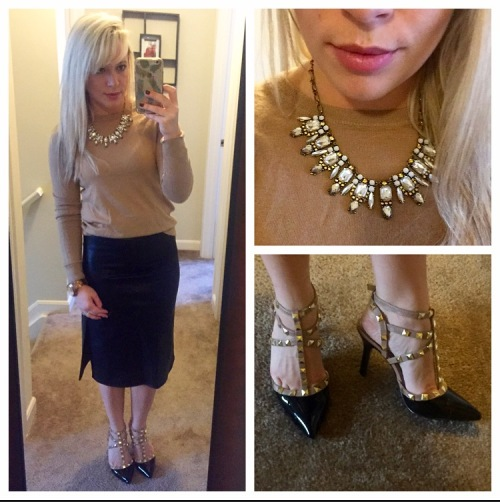 Sweater: Gap (last year), Skirt: Forever 21, Heels: BCBG found at DSW, Necklace: Target, Lip: Kat Von D Liquid Lipstick in 'Mother'