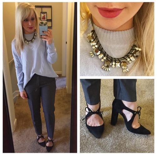 Sweater: H&M, Pants: F21, Heels: Shoedazzle, Necklace: Target, Lip: Marc Jacobs 'Kiss Kiss Bang Bang' (aka my wedding lip)