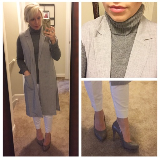 Vest: F21, Turtleneck: very old, Pants: H&M, Pumps: Nine West found at TJ Maxx