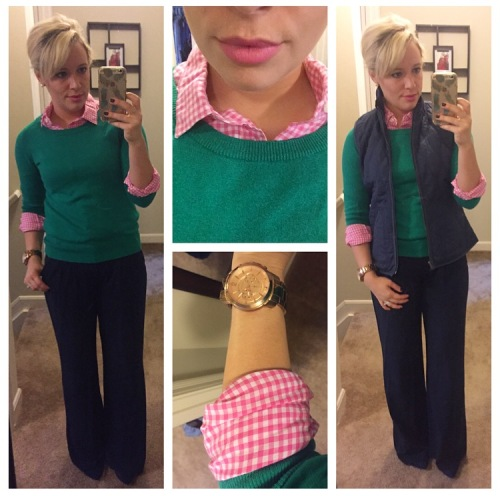 Sweater: JcP, Button-Up: J.Crew Factory, Wide-Leg trousers & Vest: Old Navy, Heels: Just Fab, Lip: NARS Audacious in 'Claudia'