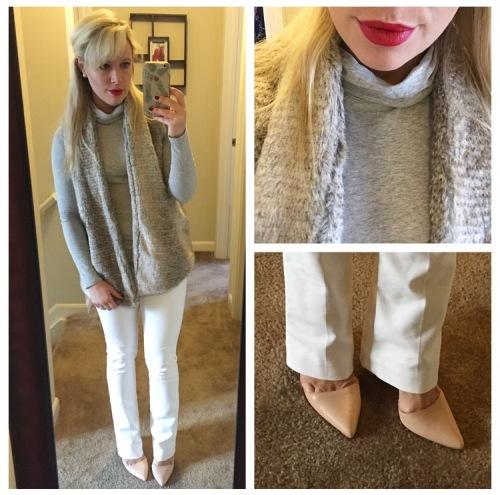Vest: Bows & Sequins for Evine, Turtleneck: Target, Pants: Express (found at Gabes!), Heels: Shoedazzle, Lips: Marc Jacobs 'So Rouge'