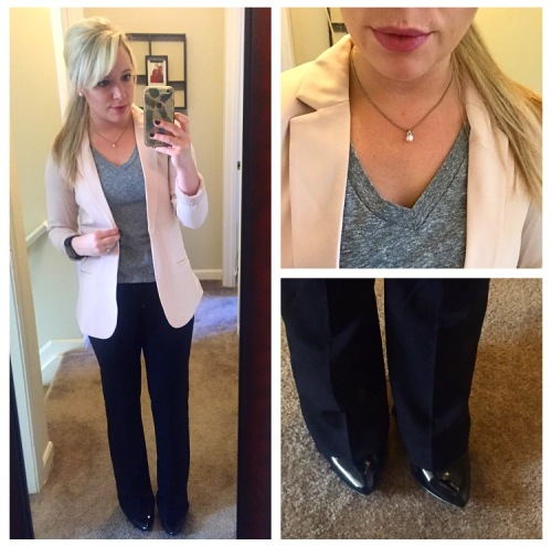 Blazer: H&M, Tee: Forever 21, Pants: Old Navy, Heels: Jessica Simpson, Lips: Kat Von D  Liquid Lipstick in 'Mother'