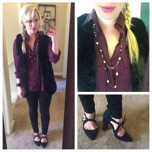 Top: Sam Edelman via Gabes, Vest: Marshall's, Jeans: Old Navy, Pumps: Shoedazzle, Necklace: F21 (?), Lips: MAC 'Up the Amp'