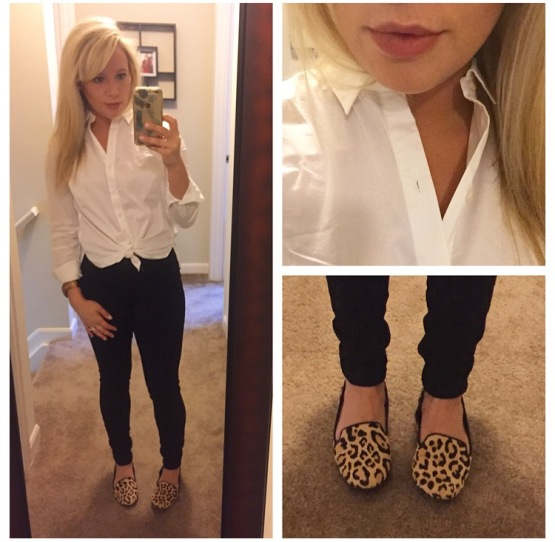 Shirt: Anne Klein, Jeans: Old Navy, Loafers: DSW