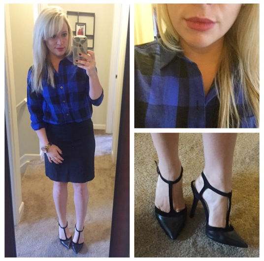 Shirt: Old Navy, Pencil Skirt: Banana Republic, Heels: BCBG found at Marshall's, Lip: Kat Von D Liquid Lipstick in 'Lolita'