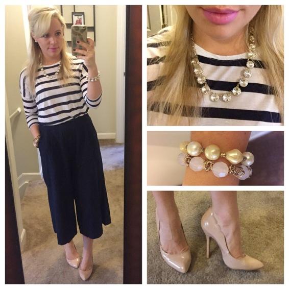 Shirt: F21, Culottes: Old Navy, Pumps: Betsey Johnson via DSW, Necklace: F21, Bracelets: Francesca's, Lip: Kat Von D Lipquid Lipstick in 'Armageddon'