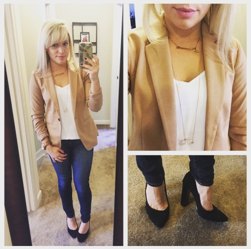 Blazer: F21, Tank: Express, Jeans: American Eagle, Pumps: BCBG via DSW, Necklace: F21, Lips: Kat Von D Liquid Lipstick in 'Lovesick'
