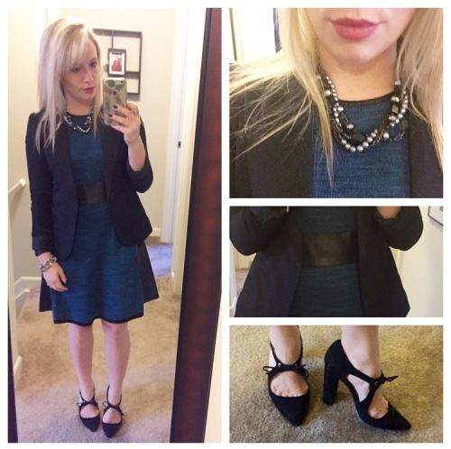 Dress & Blazer: Gabes (dress is recent, blazer is old), Necklace: Gift, Heels: Shoedazzle, Lip: