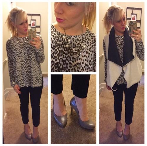 Sweater: H&M, Vest: Target, Pants: H&M, Pumps: Nine West, Necklace: old, gifted