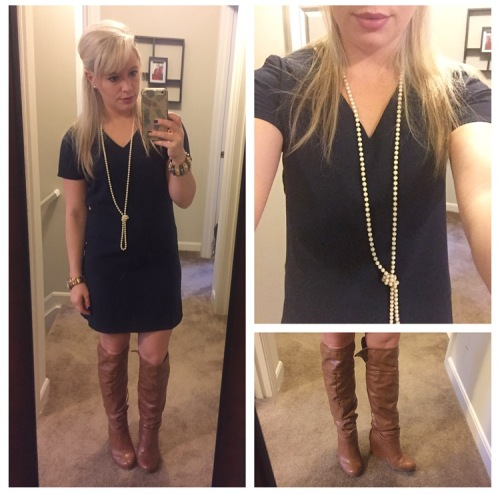 Dress: TJ Maxx, Boots: DSW, Necklace: Vintage, Lip: Kat Von D Liquid Lipstick in Lovesick