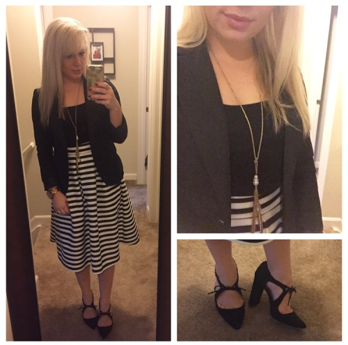 Tank: Gap Factory, Skirt: Windsor Store, Blazer: Gabes, Necklace: Target, Shoes: Shoedazzle
