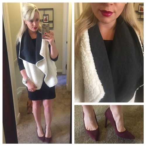 Vest: Target, Dress: Old Navy, Heels: Target, Lips: