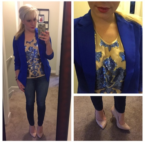 Blazer: JustFab, Sequin Tee: Neiman Marcus for Target via Gabes, Jeans: American Eagle, Pumps: Betsey Johnson via DSW, Lip: Kat Von D liquid lipstick in 'Lovesick'