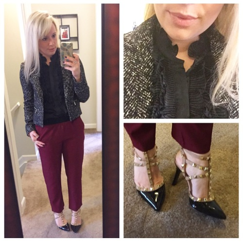 Jacket: Express via Gabes, Top: Converse for Target, Pants: Forever 21, Heels: BCBG via DSW, Lip: Anastasia Beverly Hills in 'Pure Hollywood'