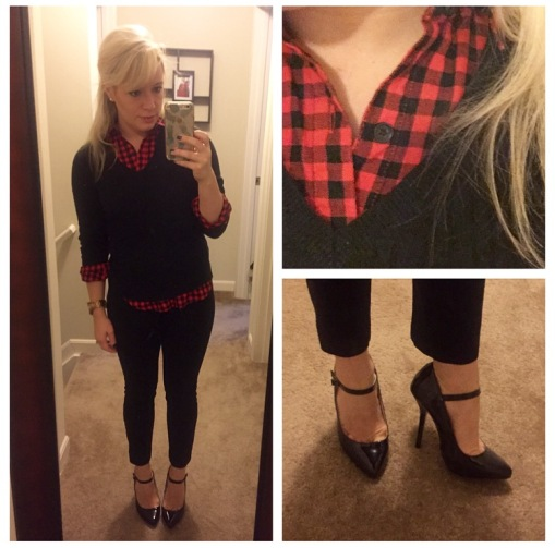 Plaid button-up: Old Navy, Sweater: Target (very old), Pants: Gap, Mary Janes: Shoedazzle