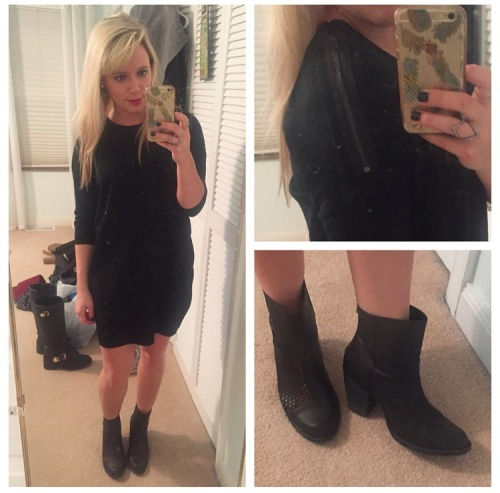 Outfit 3: Drinks with friends:  Dress: Gabes, Booties: DSW