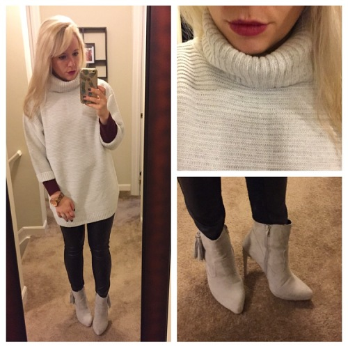 Sweater: Just Fab, Long-sleeved tee: J.Crew, Faux-leather leggings: unknown, Boots: Shoedazzle, Lip: MAC 'Rebel'