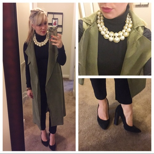 Vest: CN Direct, Turtleneck: Express, Pants: Gap, Heels: BCBG, Necklace: gift from my MIL, Lip: Kat Von D liquid lipstick in 'Mother'