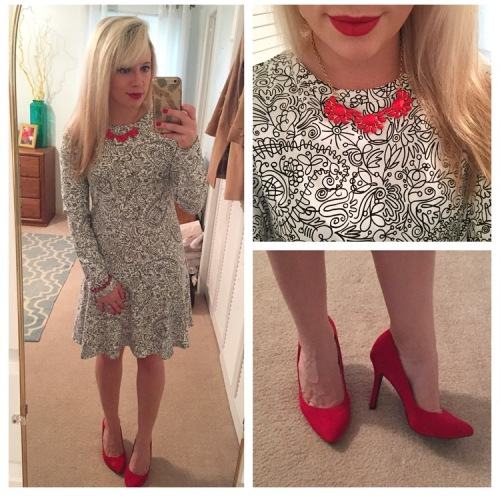 Dress: Tory Burch, Necklace: ?, Heels: Jessica Simpson, Lips: MAC 'Ruby Woo' + Marc Jacobs
