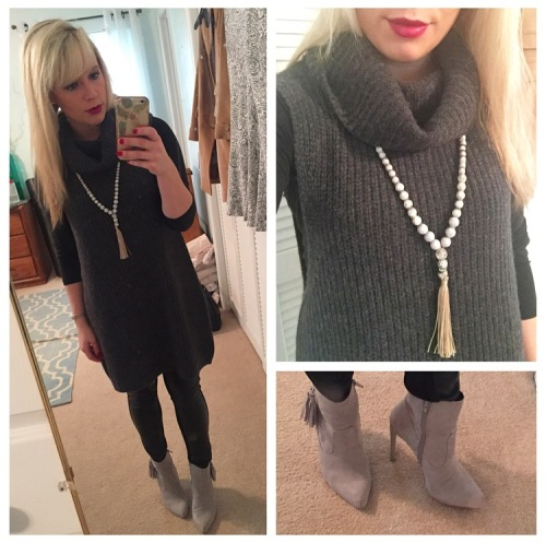 Sleeveless Sweater: Free people, Necklace: Chico's, Leggings: Marshall's (?), Booties: Shoedazzle, Lips: MAC 'Rebel'