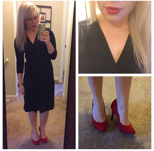 Wrap dress: Gabes, Pumps: Jessica Simpson via 6pm.com, Lip: Urban Decay 'F-Bomb'