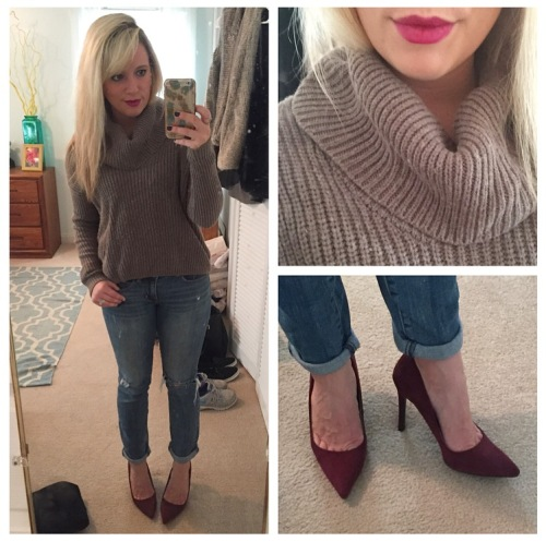Outfit 3: Dinner Date:  Sweater: Gabes (old), Jeans: American Eagle, Pumps: Sam & Libby for Target, Lip: MAC 'Diva'