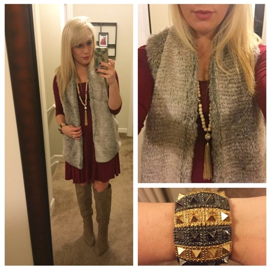 Vest: Bows & Sequins, Dress: Marshall's, Necklace: Charlie Boutique, Bracelet: Gifted, Boots: JustFab, Lip: Anastasia Beverly Hills in 'Pure Hollywood'