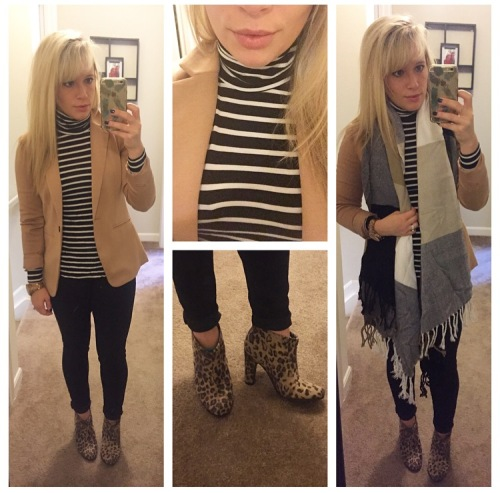 Blazer: F21, Turtleneck & Jeans: Old Navy, Scarf: Marshall's (?), Booties: Target via Poshmark