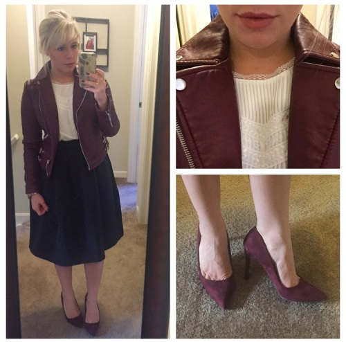 Jacket: F21, Shirt: Sam Edelman via Gabes, Skirt: Express: Heels: Target
