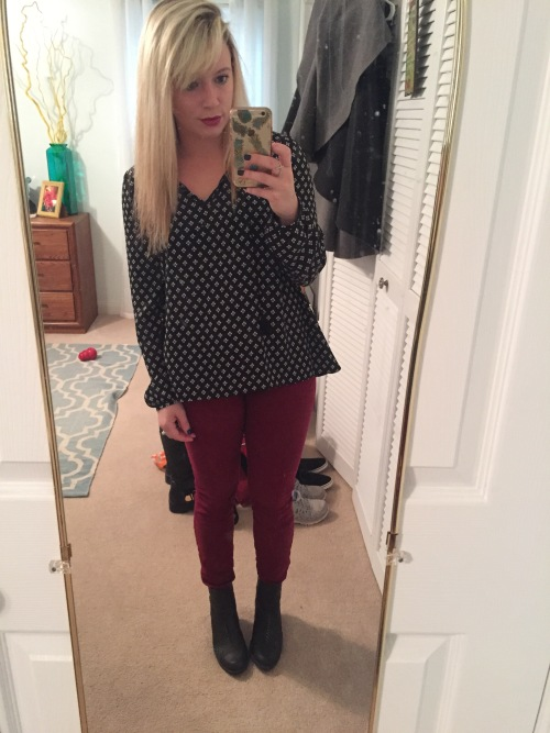 Outfit 2: Christmas shopping and brunch:  Top: Express via Gabes, Jeans: Charlotte Russe, Booties: DSW