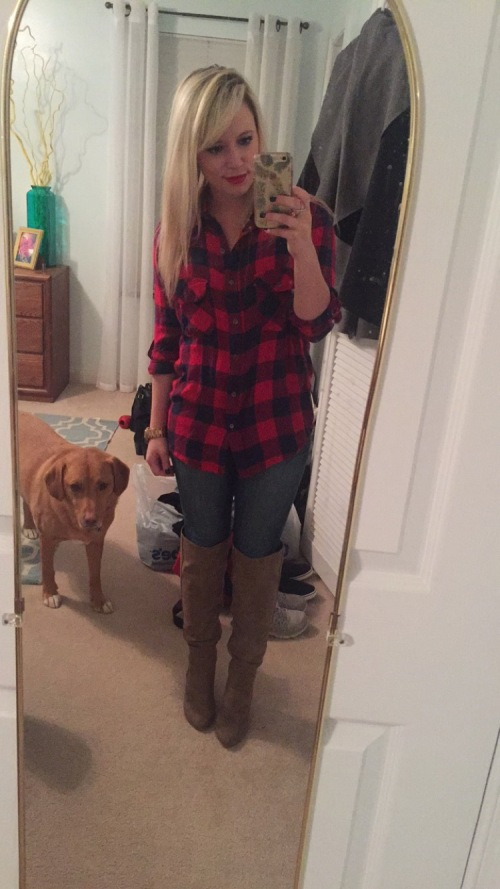 Outfit 1 - Christmas Tree Picking:  Boyfriend Flannel: Marshall's, Jeans: American Eagle, Boots: JustFab