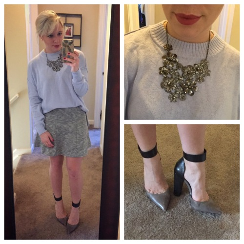 Sweater: H&M, Skirt: Old Navy, Heels: Aldo Necklace: Gabes (I think), Lip: Marc Jacobs 'Kiss Kiss Bang Bang'