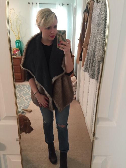 Vest: Target, Tee: F21, Jeans: American Eagle, Boots: Diba via DSW, Lip: MAC 'Ruby Woo' and Marc Jacobs
