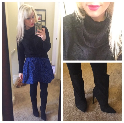Sweater: Gabes (old), Skirt: Forever 21, Tights: Target (they're fleece lined!), Booties: JustFab, Lips: Smashbox Matte 'Publicist' (how perfect!)