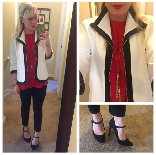 Jacket & Top: Chico's, Pants: Gap, Heels: Jessica Simpson, Necklace: Target, Lips: Marc Jacobs + MAC Ruby Woo