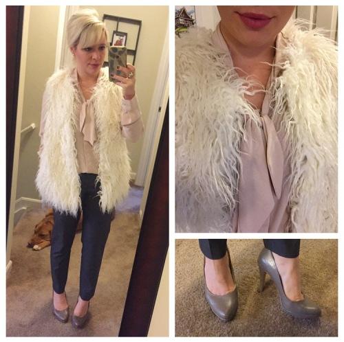 Vest & Top: Target (purchased approx 2 years apart), Pants: Forever 21, Heels: Nine West, Lip: Kat Von D liquid lipstick in 'Mother'