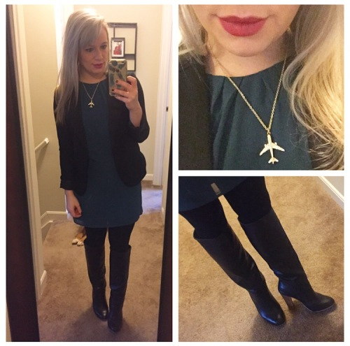 Dress: Forever 21, Blazer: Gabes, Boots: Lulu's, Lip: NARS lip pencil in 'Never Say Never'