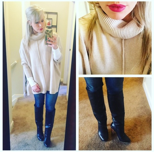 Sweater: JustFab, Tee: Target, Jeans: American Eagle, Boots: Lulu's, Lip: NARS lip pencil in 'Never Say Never'