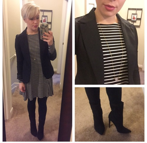 Dress: Old Navy ($12!), Blazer: Gabes, Tights: Target (fleece lined = crucial), Booties: JustFab