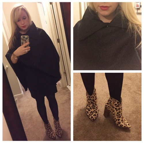 Poncho: CN Direct, Dress: Old Navy, Booties: Steve Madden