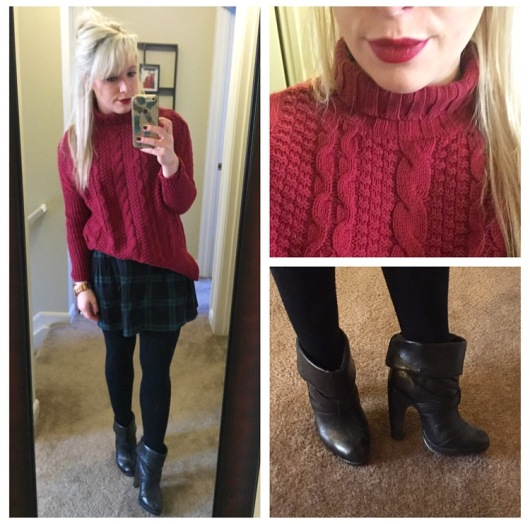 Sweater & Skirt: Old Navy (approx 1 yr apart), Booties: Charlotte Russe (old), Lippie: MAC 'Rebel'