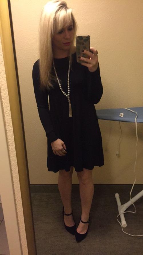 Dress: Old Navy, Necklace: Chico's, Heels: Jessica Simpson via DSW