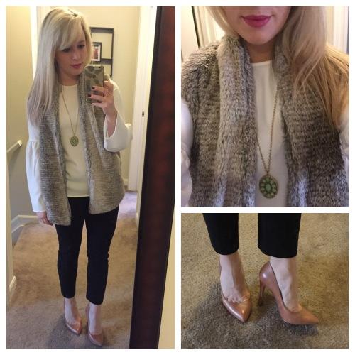 Top: H&M, Vest: Bows & Sequins for Evine, Pumps: Jessica Simpson via DSW, Pants: Gap, Necklace: Gabes,